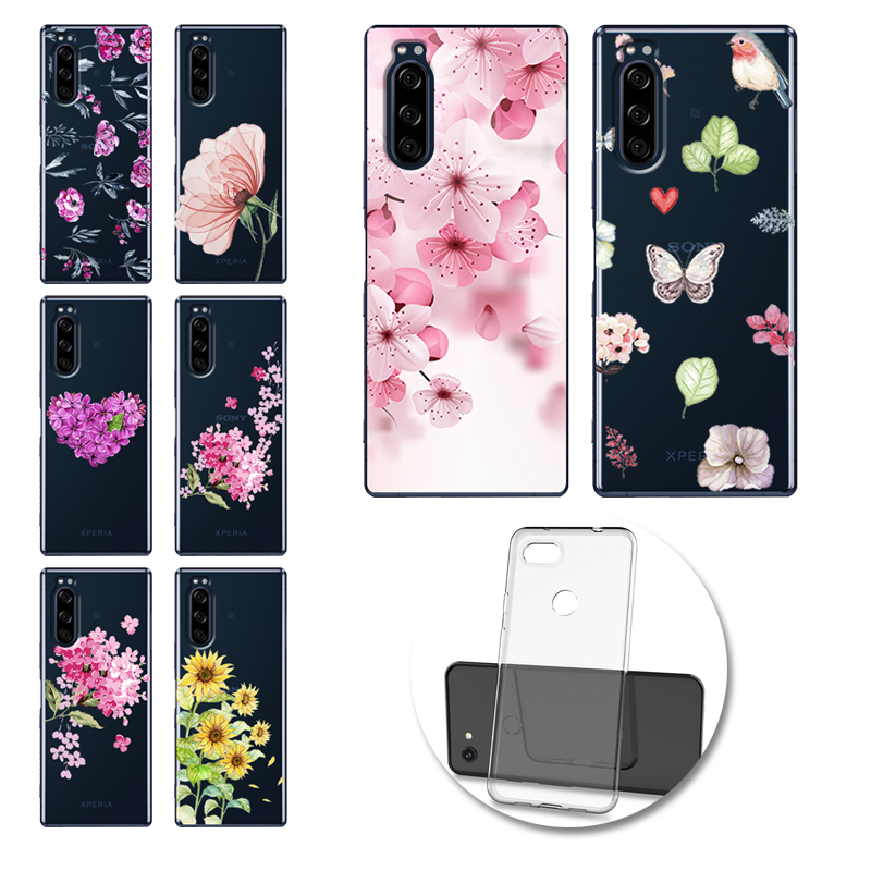 Flower Phone Case Soft TPU Cover For Sony Xperia <font><b>1</b></font> <font><b>5</b></font> <font><b>10</b></font> 20 L3 XZ4 XZ4 Compact ACE <font><b>10</b></font> Plus Funda image