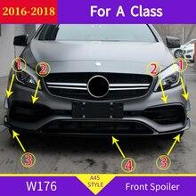 Frente Spoiler para mercedes W176 una clase 2016 2018 A200 A260 A45 deporte separador de parachoques delantero Trim
