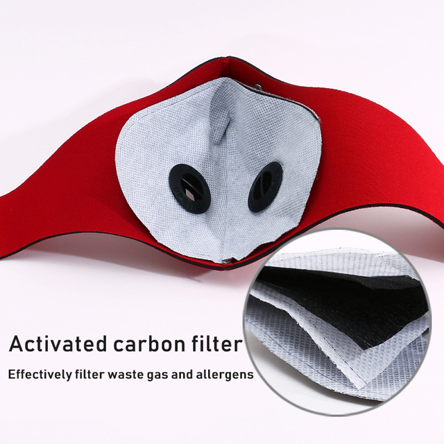 1pcs Personal Motorcycle Face Mask for Mouth Black Reusable Face Mask washable Activated Carbon Filter Respirator Cycling Masker 1