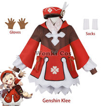Game Genshin Impact Cosplay Klee Cosplay Costume with Hat Full Set Cute Loli Dress