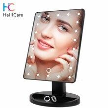 LED dokunmatik ekran makyaj aynası profesyonel makyaj masası aynası 16/22 LED işıkları sağlık güzellik ayarlanabilir tezgah 180 dönen