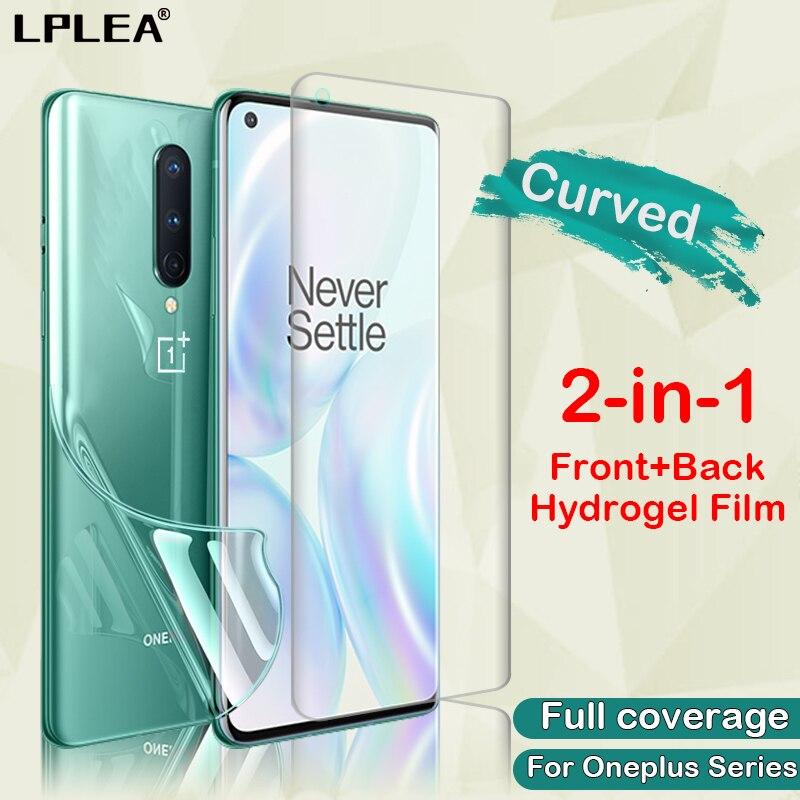 Película protetora de tela curva para oneplus, 8 hidrogel 6 6t edge cobertura completa 7t 7 pro transparente filme não vidro temperado
