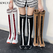 BRKWLYZ-Botas por encima de la rodilla con cordones para mujer, zapatos cálidos, botas hasta la rodilla de estilo romano, de talla grande