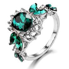 New Flower Black Rings For Women Fashion Jewelry Gift Elegant Princess Green Stone Zircon Engagement Ring(China)