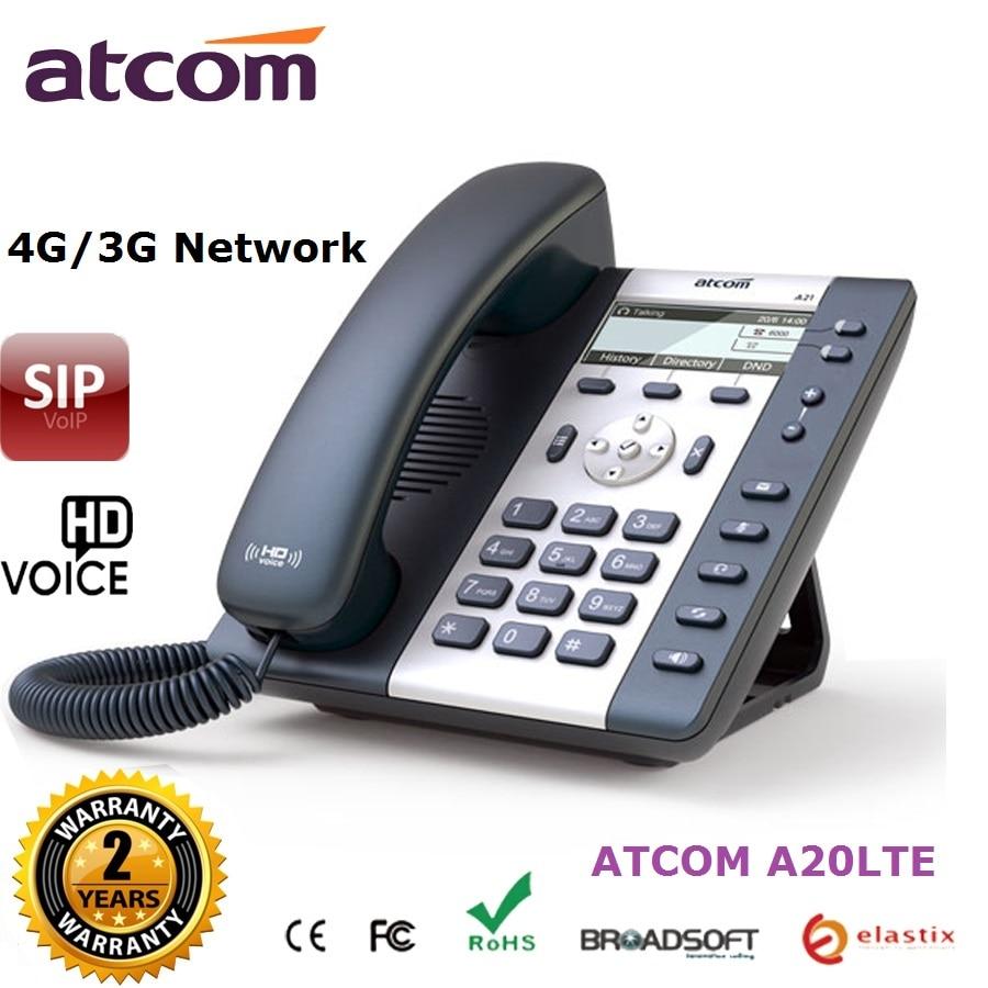 Téléphone IP ATCOM A20LTE avec 6 comptes SIP 4G (LTE) 3G téléphone voip VoLTE d'entrée de gamme