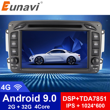 Eunavi 2 Din 7'' Android 9.0 Car DVD For Mercedes Benz CLK W203 W208 W209 W210 W463 Vito Viano Quad core radio stereo with dsp image