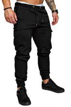 Jogger calças casuais dos homens de fitness masculino calças esportivas calças de moletom apertadas calças de treino de ginásio preto