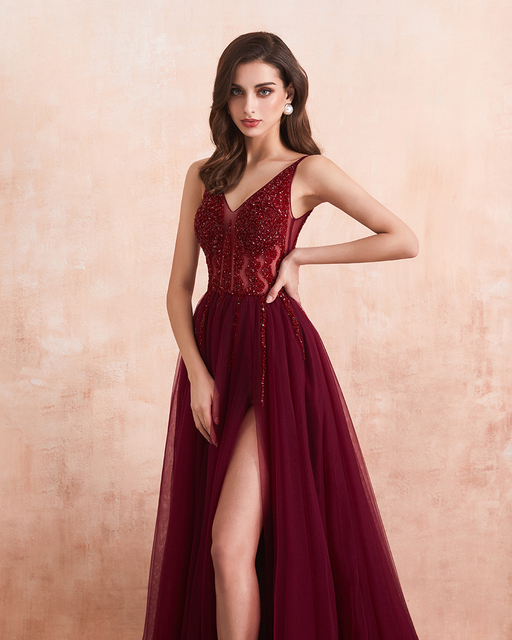 Sexy Tulle Long Prom Dresses 2020 New Arrival Beaded Split A-Line V-Neck Special Occasion Evening Party Gown 4