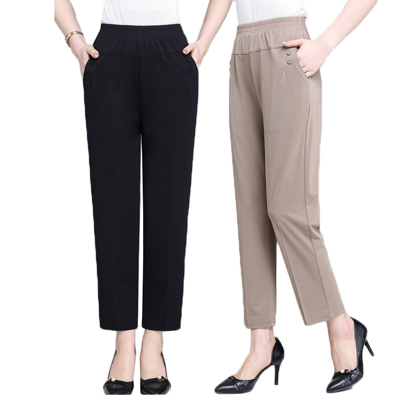 Middle Aged Old Women Spring Summer Pants Thin Elastic Waist Loose Cotton Mother Pants Casual Female Trousers Plus Size 5XL 1842