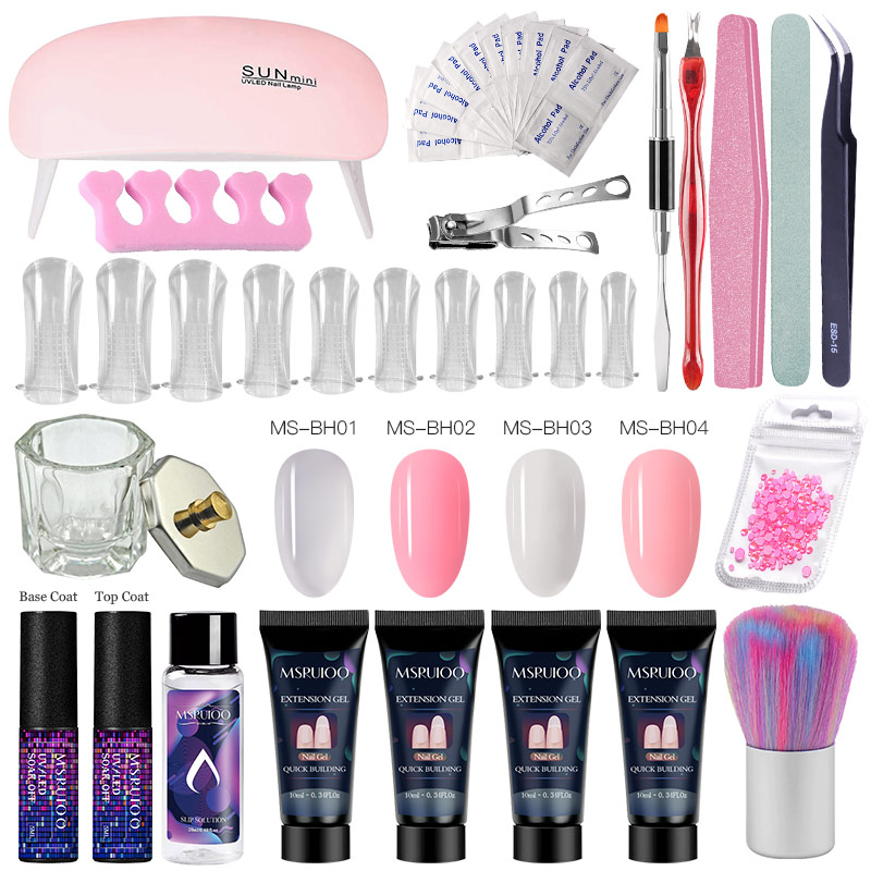 MSRUIOO Poly Extension Nail Set With 6W UV LED USB Lamp Dryer Kit Tools Polygel Kit For Manicure Nail Art Sets Nail Polish Gel