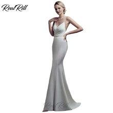 Real Rill V Neck Mermaid Evening Dress 2019 Spaghetti Straps Beaded Backless Side Slpit Trumpet Floor Length Formal