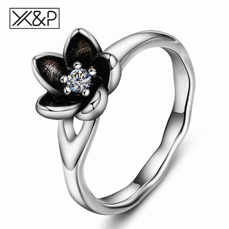 แฟชั่นดอกไม้คริสตัลแหวนหญิงโรแมนติกงานแต่งงานสีเงินยี่ห้อ Cubic Zirconia หมั้นแหวนเครื่องประดับ