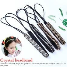 New Fashion 1 pcs Collar Fashion Elastic Lace Hairband Rhinestone Beads Headband Hair Accessories Jewelry For Women Hot stylish beads lace hairband for women