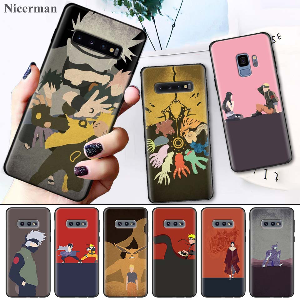 Black Silicone Cases Cover Coque for Samsung Galaxy S8 S9 S10 S10e 5G Note 8 9 10 5G Plus S7 S7 Edge S8+ S9+ S10+ Anime Naruto-in Fitted Cases from Cellphones & Telecommunications