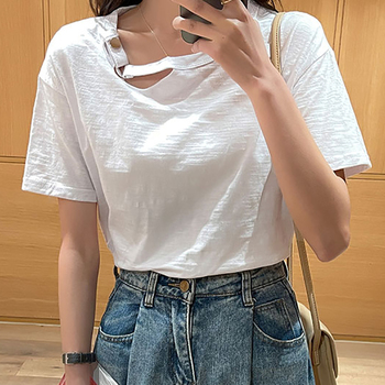 Przycisk solidna T koszula kobiety bawełna lato topy koreański styl z krótkim rękawem odzież damska koszulka Femme Blusas Mujer De Moda 2021 tanie i dobre opinie harteen REGULAR Sukno CN (pochodzenie) COTTON spandex guzik tops Z KRÓTKIM RĘKAWEM SHORT Dobrze pasuje do rozmiaru wybierz swój normalny rozmiar