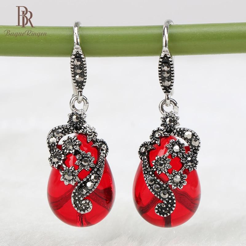 Bague Ringen Vintage Ruby Earrings 925 Sterling Silver  With Red Green Big Gemstones Wedding Women Party Wholesale Gift