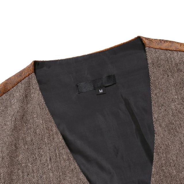 Wool Tweed Men Suit Vests Victorian Steampunk Cosplay Mens Waistcoat with Suede Gentleman Groomman Wedding Slim Fit Men Gilet 4