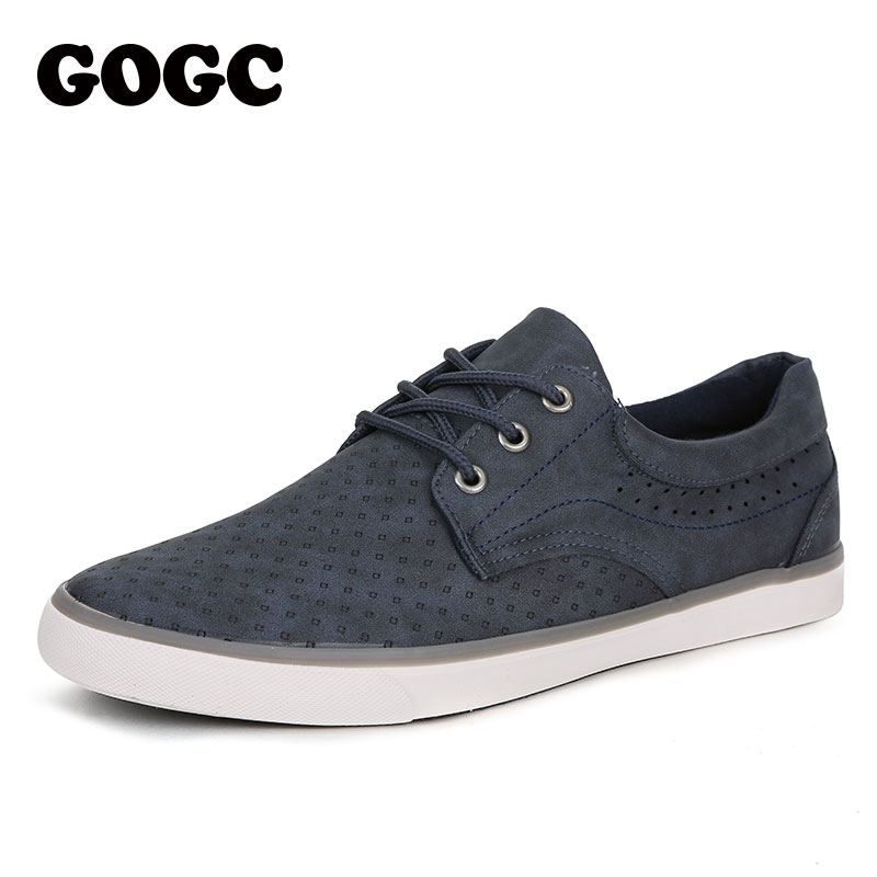 GOGC 2019 Spring Men's Flat Shoes Sneakers Men Leather Shoes Footwear Men Vulcanized Shoes Holes Causal Shoes Loafers G764