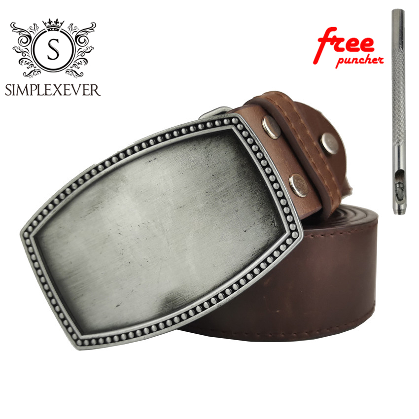 Solid Silver Belt Buckle For Men DIY Blank Zinc Ally Belt Buckles Suit For 4cm Width Belt Men Jeans Accessories