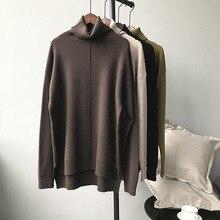Mooirue осень Femme Kawaii вязаный свитер шикарный с высоким воротом длинная теплая Свободная верхняя одежда Feminino белый пуловер