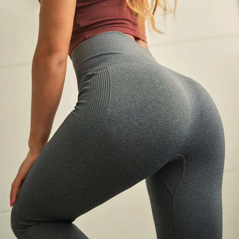 Autumn High Waist Solid Gray Breathable Trousers Fitness Hip Push Up Sexy Female Pants Athleisure Elastic Women Leggings