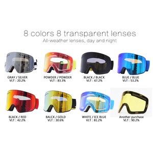 Image 3 - Jiepolly magnes gogle narciarskie sporty zimowe zimowe okulary snowboardowe Anti Fog ochrona UV skuter kulisty okulary narciarskie FJ037