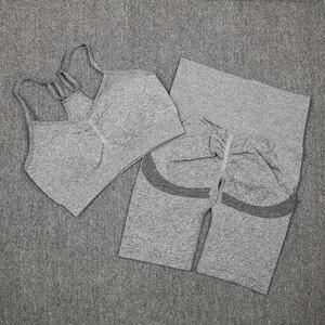 ATHVOTAR 2Pcs Frauen Sport Anzug Turnhalle Set Sexy Bh Nahtlose Shorts Workout Lauf Bekleidung Gym Tragen Sportschuhe Yoga Set