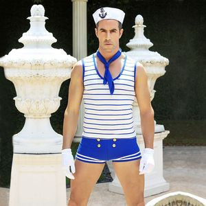 Image 3 - Adult Men Sexy Sailor Cosplay Costume White Blue Seaman Uniform Supper Attractive Halloween Men Party Dress