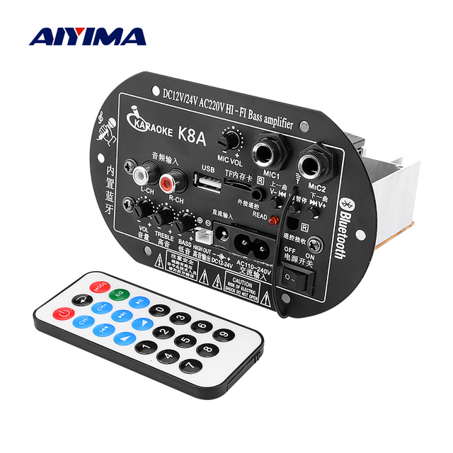 AIYIMA Bluetooth Subwoofer Car Home Power Amplifier Dual Microphone Bluetooth Amplifiers 12V 24V 220V Theater Sound System