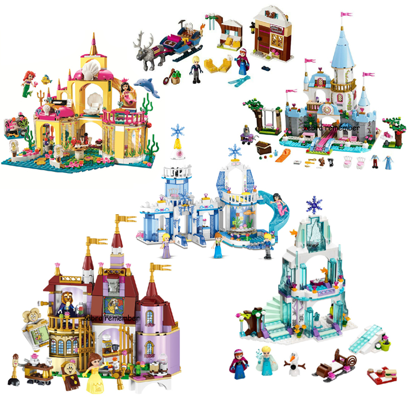 Elsa Anna Belle Ariel Moana Cinderella Castle Building Blocks Bricks Compatible Princess Legoinglys Friends Figures Girl Toys