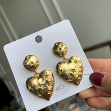 Fashion Star Paved Heart Drop Earrings 2020 New Statement Women Jewelry Pendientes Gold-Color gold color with star hotpink butterfly star drop earrings