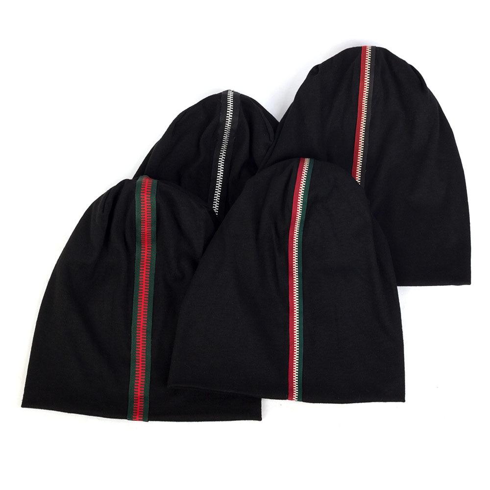 New Style Novelty Zipper Ribbon Print Women Beanie 2019 Autumn Winter Elastic Slouchy Skull Cap Female Hat DZ938C