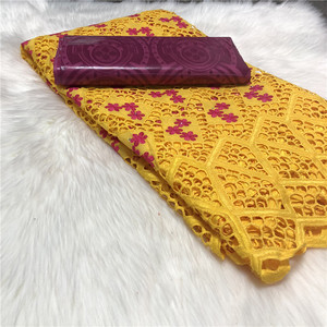 New Arrival 2.5yards Bazin Riche Brocade Fabric with 2.5yard Soft Swiss Lace for Femme Robe New Bazin Riche Fabric(China)