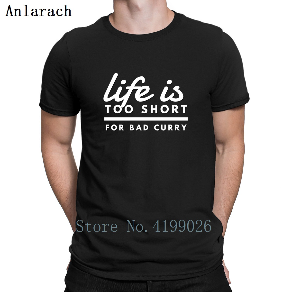 Life Is Too Short For Bad Curry Indian Food T-Shirts Hip Hop Family Letters Print T Shirt Plus Size Fashion Summer Homme image