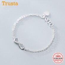 Trustdavis Genuine 925 Sterling Silver Sweet Minimalist Double Layer Infinity CZ Bracelet For Women Wedding Jewelry Gift DS2177