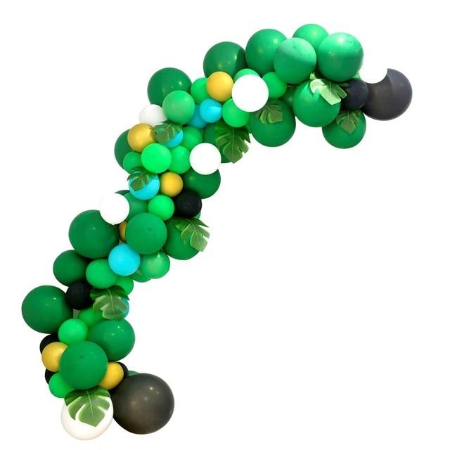 ジャングルパーティー用品バルーン花輪キット、ヤシの葉ラテックスバルーン花輪恐竜森ハワイ夏パーティーの装飾