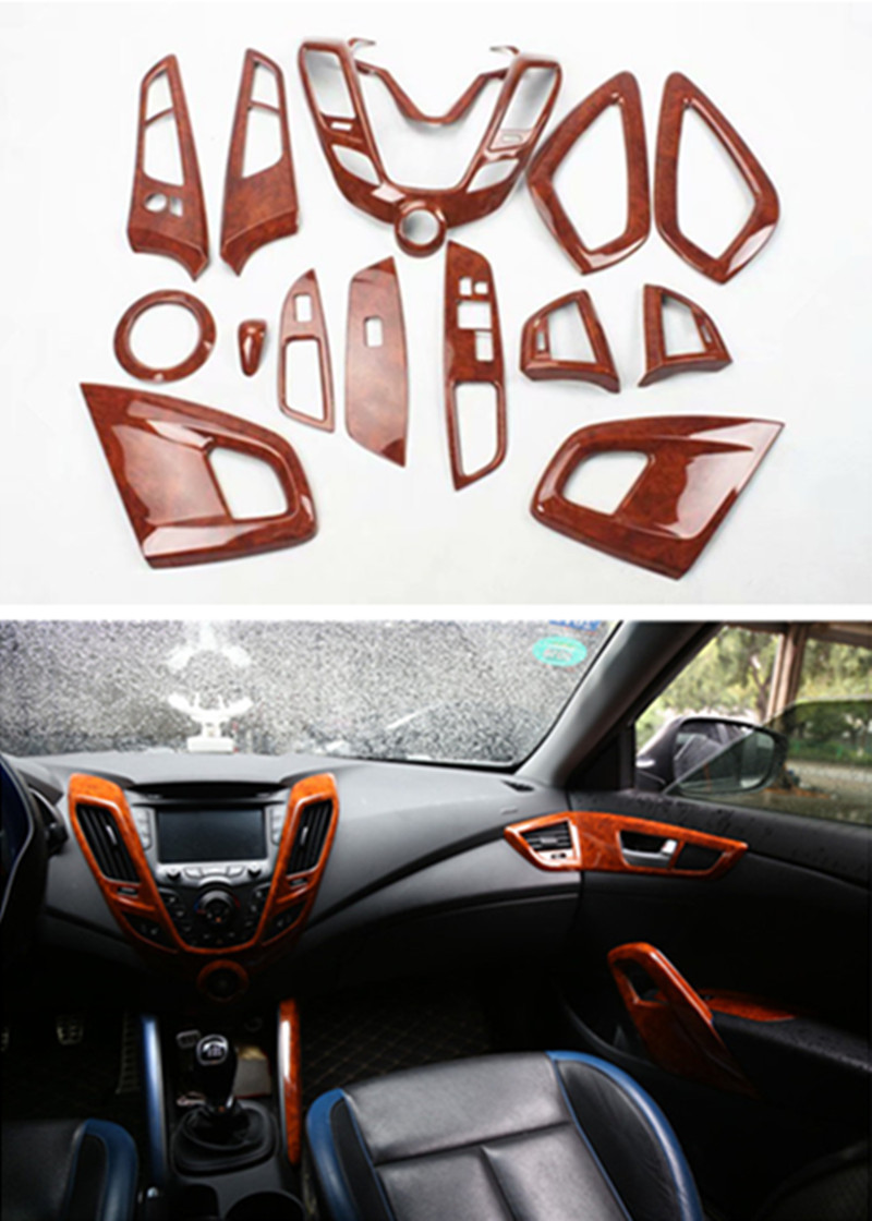 1lot Car Stickers Yellow Peach Texture Grain Inside Decoration Cover For 2011-2016 Hyundai Veloster Hatchback