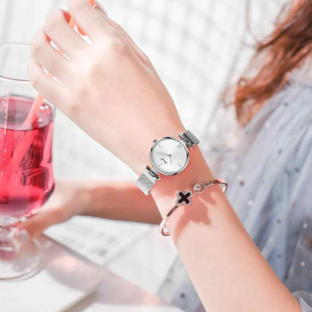 DOM Women Watch Bracelet Japan Quartz Movement Simple Waterproof Sliver White Stainless Steel Mesh Ladies Watch G-1267D-7M2