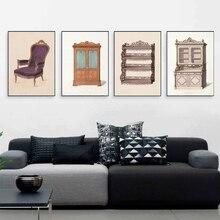 Vintage armario póster e impresiones arte de pared silla vestidor muebles cuadros lienzo pintura niñas habitación dormitorio decoración del hogar regalo