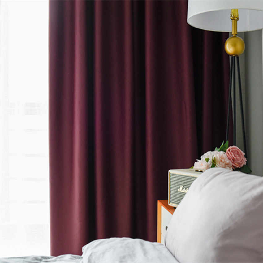 Modern European Style Curtains for Bedroom High-precision Solid Color High Shade Kitchen Curtains Multi-color for Living Room