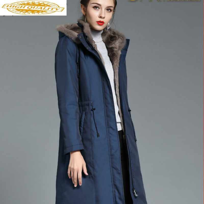 Real Fur Coat Women Rex Rabbit Fur Coat Women Mink Fur Collar Hooded Winter Coat Women Warm Parka DHM1802 YY1574