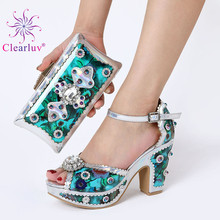 Silver shoes and bag matching set italy 2019 designs for african shoes and bags wedding party free shipping cheap Clearluv Slingbacks Spike Heels Super High (8cm-up) Fits true to size take your normal size Fashion Fretwork Summer Peep Toe