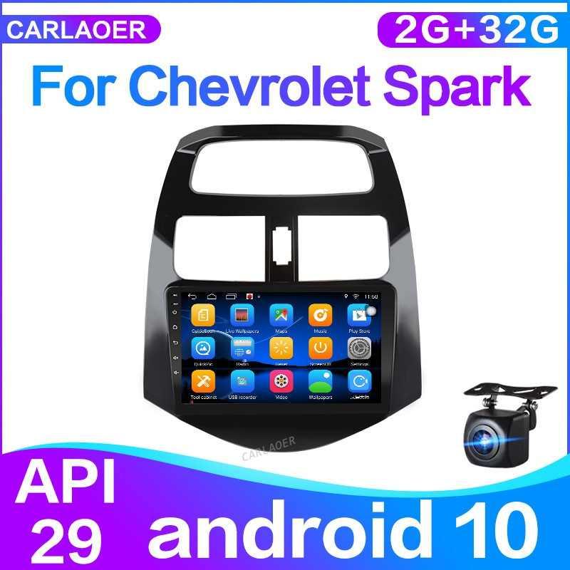 Android 10.0 untuk Chevrolet Spark 2010 2011 2012 2013 2014 Mobil Radio Pemutar Video Multimedia Gps Navigasi 2 DIN 2G + 32G Tidak Ada DVD