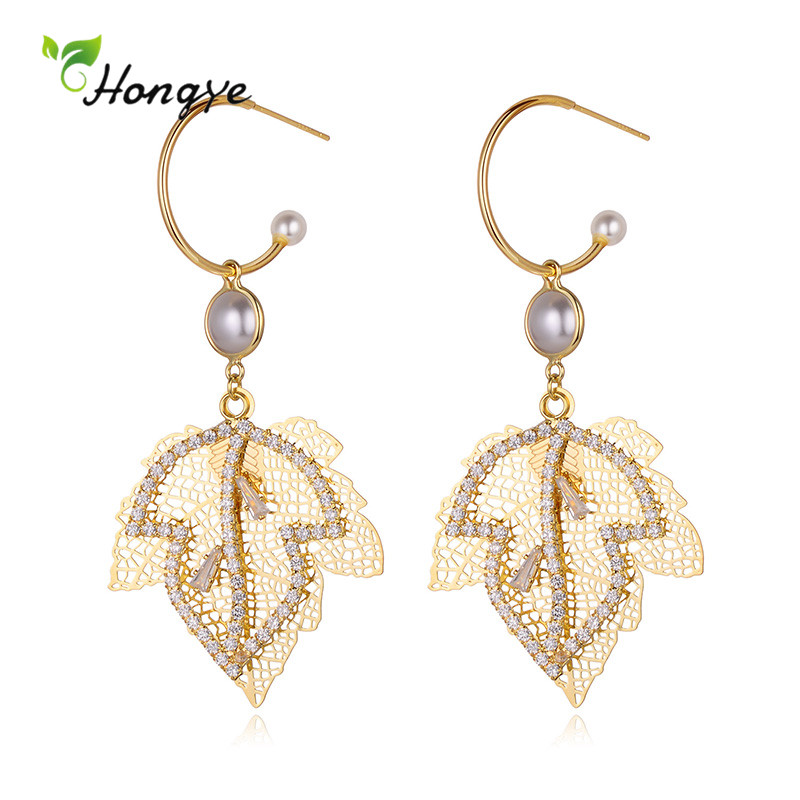 Hongye Personality Boho Big Hollow Crystal Leaves Drop Earrings for Women Fashion Long Section Brincos Fine Jewelry Female Mujer