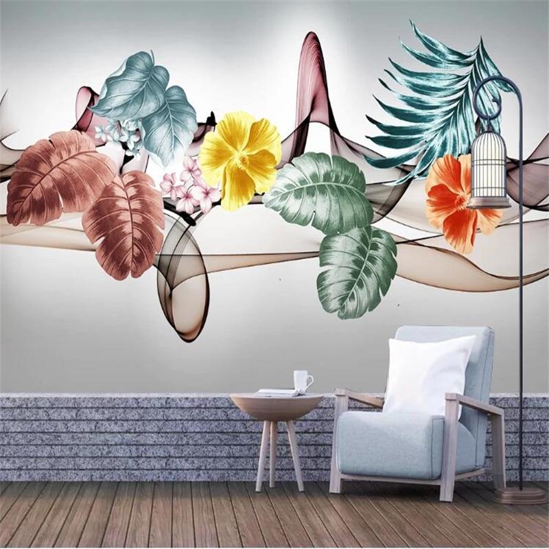 Large 3D Wallpaper Mural Custom Tropical Plant Leaf Flower Abstract Smoke TV Sofa Background Wallpaper Mural