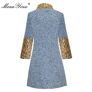 Image 2 - MoaaYina Fashion Designer Wool Woolen coat Winter Women Long sleeve Stand collar Diamond Elegant Keep warm Woolen coat Overcoat