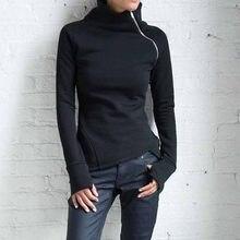 Bluzy bluzy Plus rozmiar 2020 kobiet dorywcze jednolity kolor, długi rękaw FF114 sweter z golfem Slim Fit zamki bluza