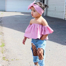 Off Shoulder Ruffle T-shirt Toddler Kids Baby Girl Boho Cute Tops Summer Clothes Outfits Little Girl Tops+headband 2pcs Sets New(China)