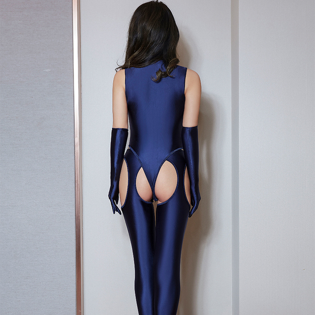 High Elasticity Woman Sexy Sets Temptation Zipper Bodysuit Hollow Out Open Crotch Pants Porn Club Costume Oil Glossy 4 Pce Sets 2