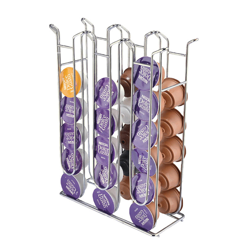 Iron Chrome Plating Stand Display Rack For Dolce Gusto Capsule Metal Coffee Pod Holder Tower Storage Capsule Organizer Tools